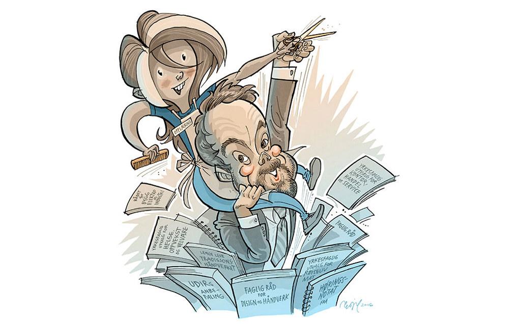 – Det kan bli aktuelt å legge ned fag, men må vurderes nøye, sier kunnskapsminister Torbjørn Røe Isaksen (H). Illustrasjon: Egil Nyhus