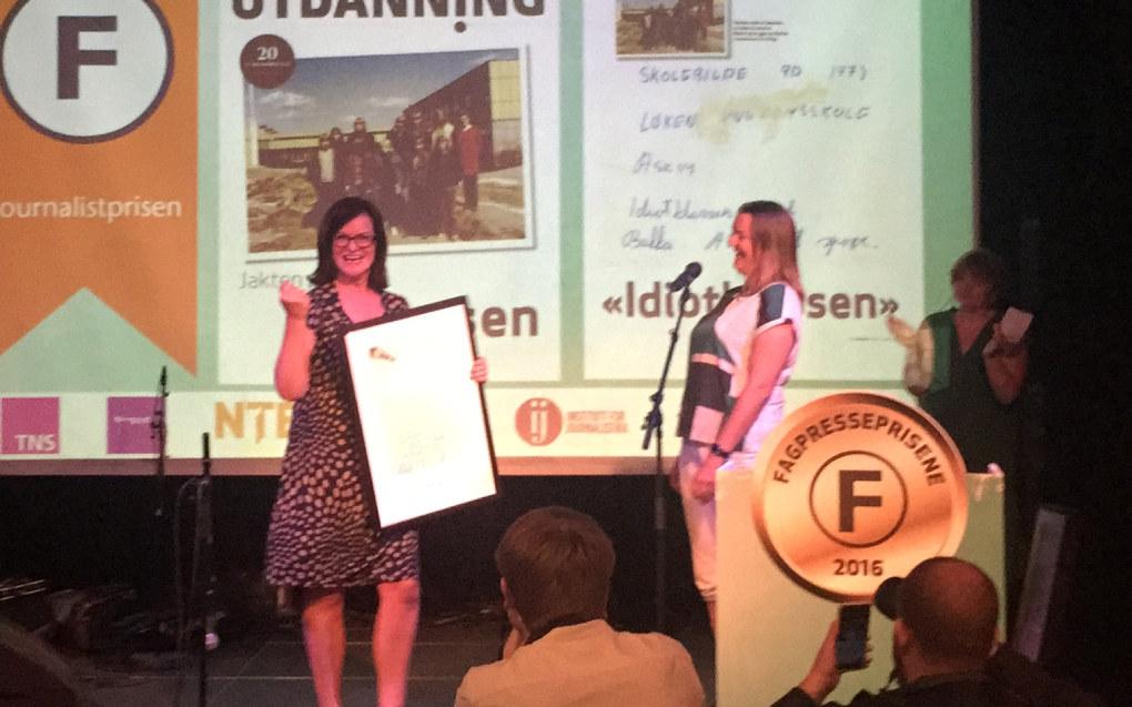 I går vant Kari Oliv Vedvik journalistprisen for saken om X-klassen. Foto: Paal Svendsen